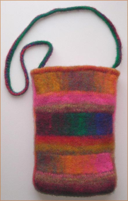 Two Way Striped Felted Bag knitting pattern