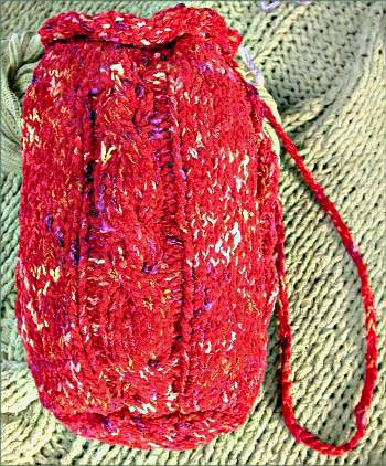 Cabled Drawstring Bag