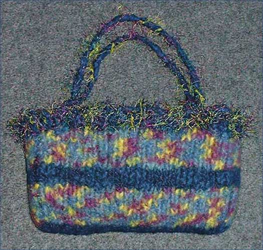 Felted Bag With Eyelash Yarn Trim
