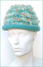 Felted Brim Hat With Novelty Yarn Stripes